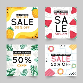 Soldes d'été de fin de saison instagram post collection
