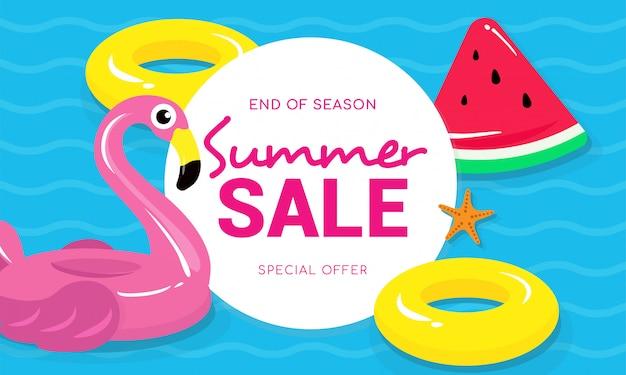 Soldes d'été avec illustration vectorielle flamingo
