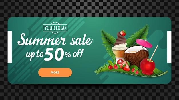 Soldes d'été, jusqu'à 50% de réduction, bannière web à prix réduit pour votre site web