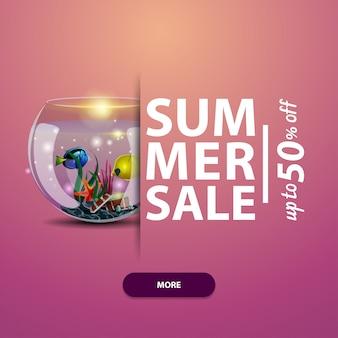 Soldes d'été, modèle de bannière carrée, publicité et promotions