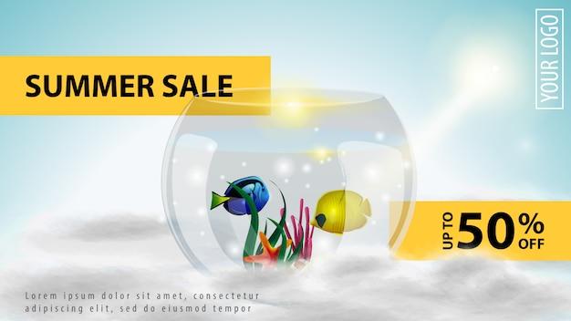 Soldes d'été, modèle de bannière web discount léger
