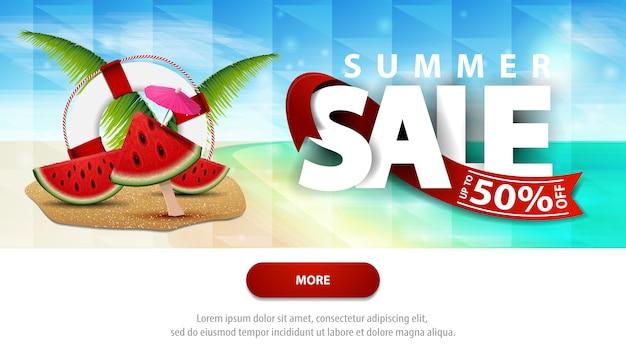 Soldes d'été, modèle de bannière web discount pour votre site web avec un magnifique paysage marin