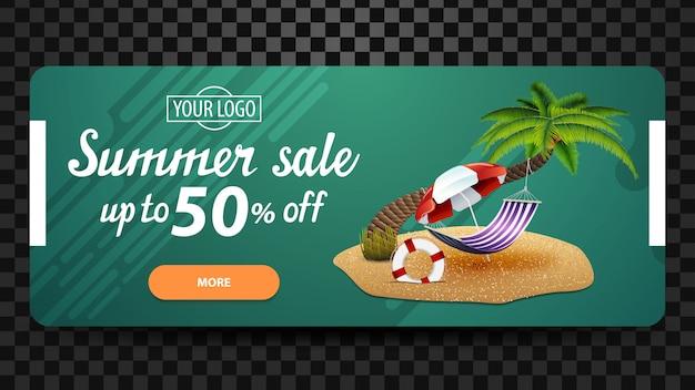 Soldes d'été, modèle de bannière web discount