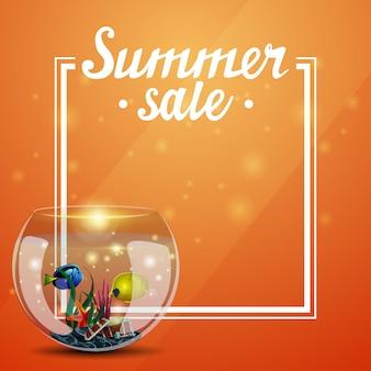 Soldes d'été, modèle orange pour vos arts avec cadre et place pour le texte