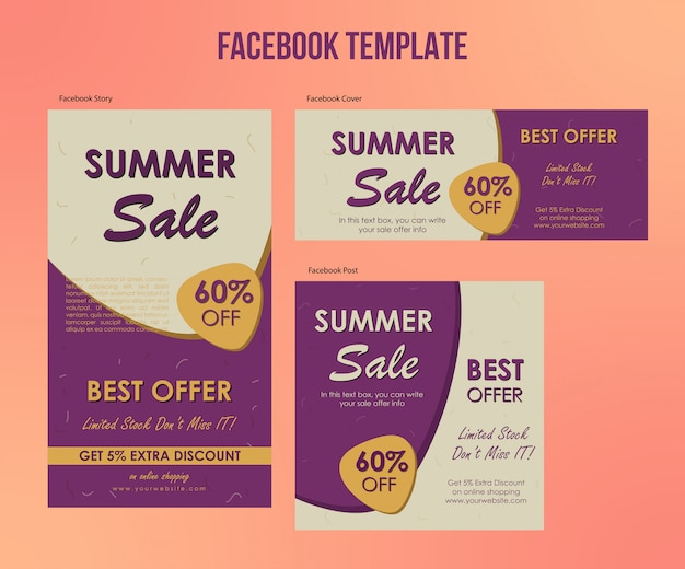 Soldes d'été offre des modèles facebook