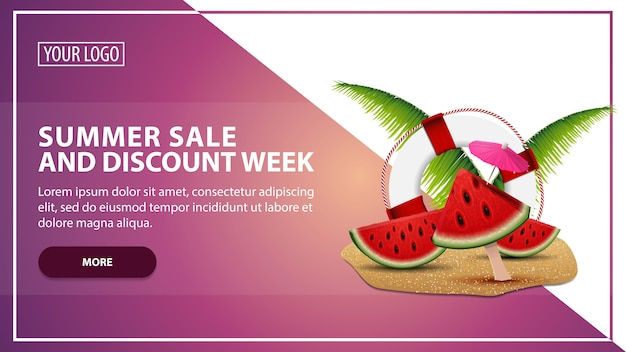 Soldes d'été et semaine d'escompte, modèle de bannière web discount pour votre site web dans un style moderne