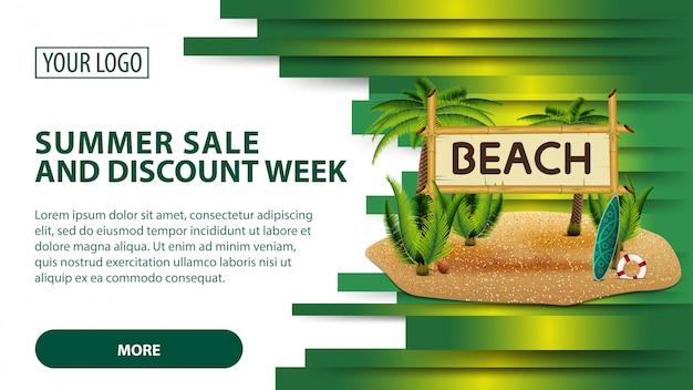Soldes d'été et semaine de rabais, bannière avec des cocotiers