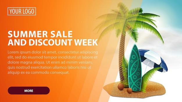 Soldes d'été et semaine de rabais, bannière web créative pour vos arts