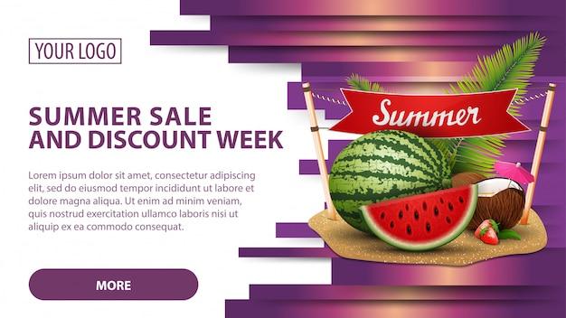 Soldes d'été et semaine de remise, bannière avec melon d'eau