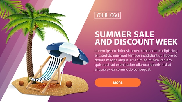 Soldes d'été et semaine de remise, bannière de remise horizontale pour votre site web