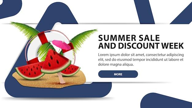 Soldes d'été et semaine de remise, bannière web blanc créatif au design moderne