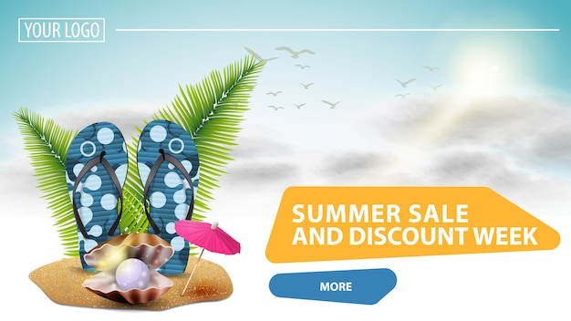 Soldes d'été et semaine de remise, bannière web cliquable pour votre site web