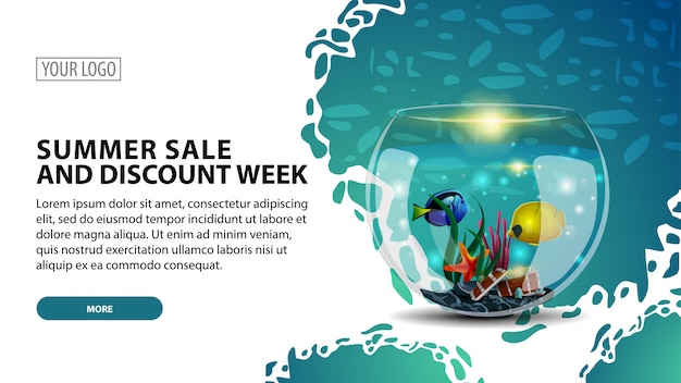 Soldes d'été et semaine de remise, bannière web moderne