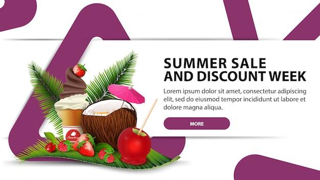 Soldes d'été et semaine de remises, bannière de remise moderne avec un design à la mode