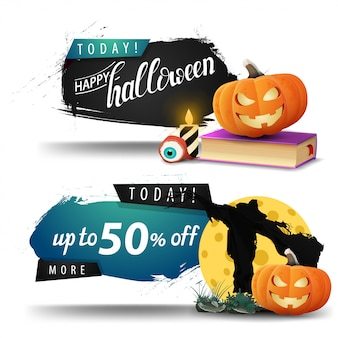 Soldes d'halloween, bannières d'escompte avec l'épouvantail et le potiron