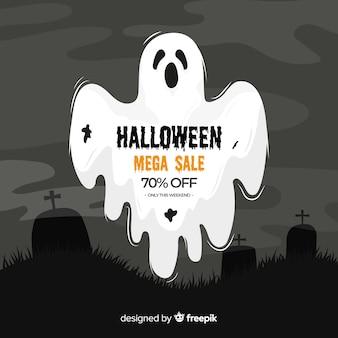 Soldes d'halloween sur un design plat