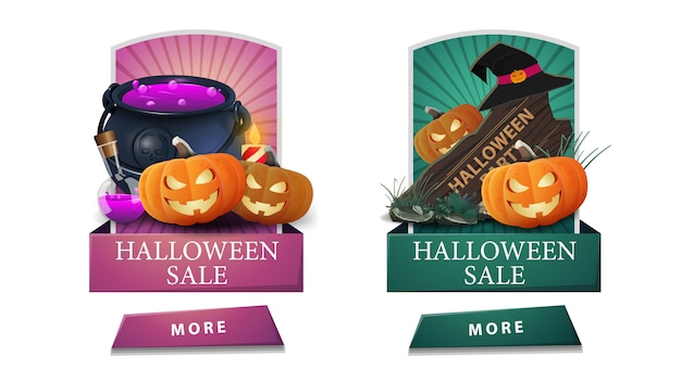 Soldes d'halloween, deux bannières verticales à prix réduits avec boutons, panneau en bois, chaudron de sorcière et citrouille jack. bannières de réduction roses et vertes pour vos arts