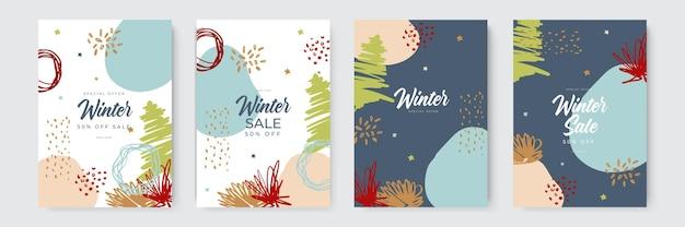 Soldes d'hiver et cartes de vacances de noël avec un style organique et dessiné à la main collection de bacs abstraits...