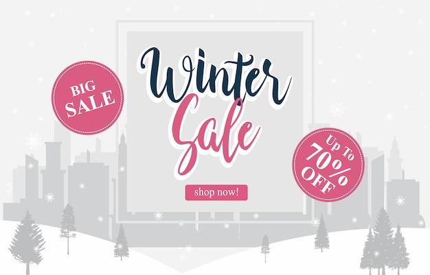 Soldes d'hiver promotion marketing promotion paysage urbain de pine pine