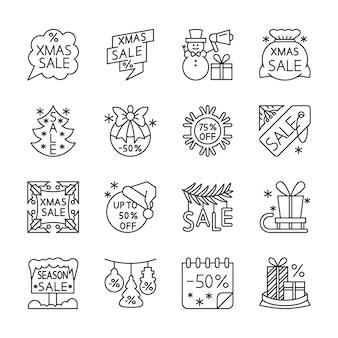 Soldes de noël, dédouanement, icônes de la ligne de remise définie, hiver, noël, signe de l'offre spéciale de nouvel an.