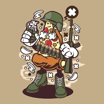 Soldier pizza cartoon