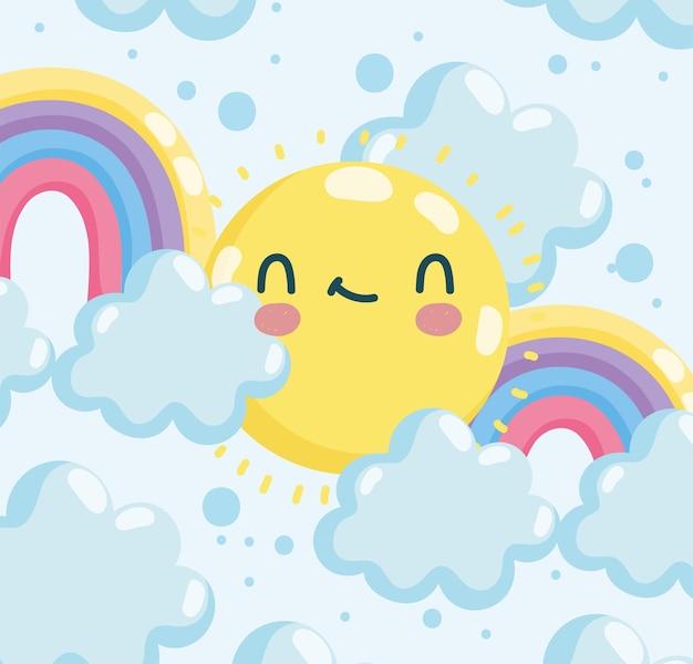 Soleil et arc-en-ciel mignons