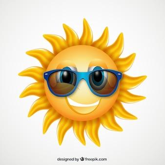 Soleil de bande dessinée avec des lunettes de soleil