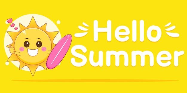 Un soleil avec une bannière de voeux d'été