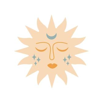 Soleil boho magique moderne avec lune, étoiles, visage en silhouette isolé sur fond blanc. plate illustration vectorielle. élément céleste boho décoratif pour tatouage, cartes de voeux, invitations, mariage