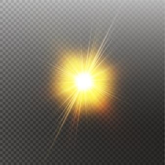 Soleil brillant brillant isolé sur fond noir. effet de lumière éclatante.