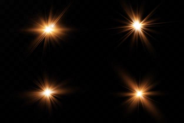 Soleil brillant transparent, flash brillant. effet de lumière parasite spécial.