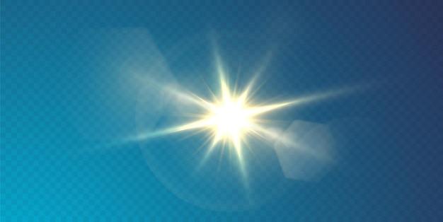 Le soleil brille des rayons de lumière brillants avec des reflets réalistes. étoile légère sur fond noir transparent.