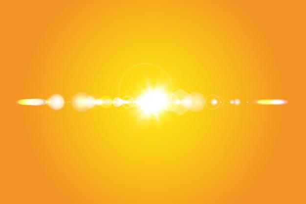 Soleil chaud sur fond jaune. été. éblouissement. les rayons solaires.
