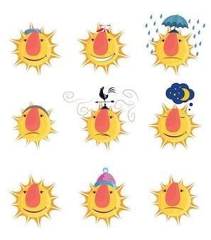 Soleil de dessin animé drôle avec différentes émotions