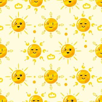 Soleil dessiné à la main dans divers motifs de style