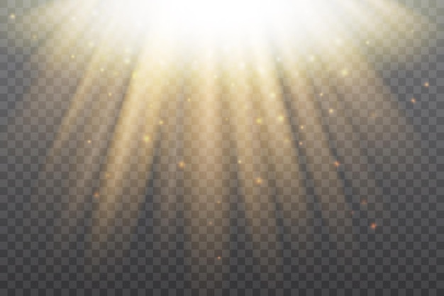 Soleil doré effet de lumière gloire dorée soleil de rayons de soleil brillant dans une fusée radiale