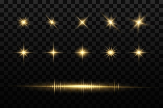 Le soleil a éclaté. étoiles brillantes. étoiles dorées brillantes isolées.