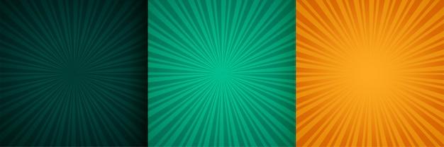 Soleil éclaté zoom rayons fond ensemble de trois