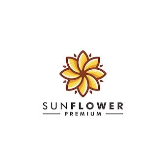 Soleil fleur logo design nature icône vecteur