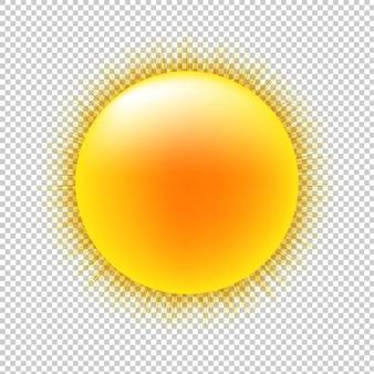 Soleil avec fond transparent avec filet de dégradé,.