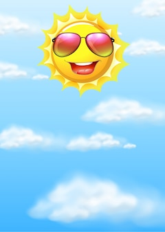 Un soleil heureux sur le ciel