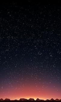 Soleil levant derrière les montagnes et le ciel étoilé