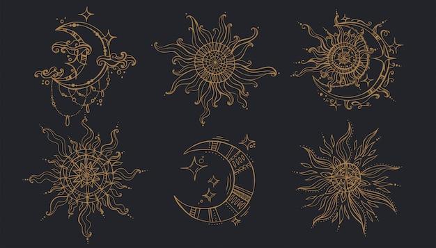 Soleil et lune dans le style boho.
