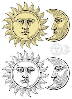 Soleil et lune avec des visages