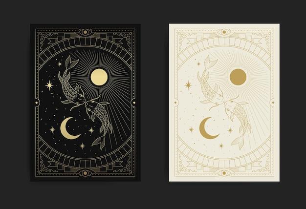 Soleil et lune yin yang avec poisson mythologique au milieu