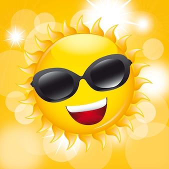 Soleil avec des lunettes de soleil sur l'illustration vectorielle fond jaune