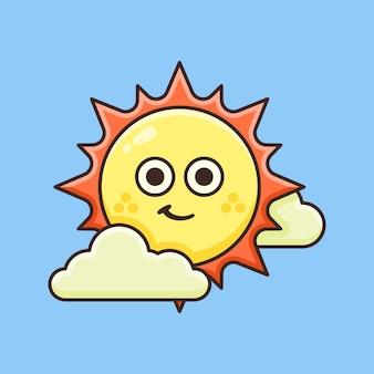 Soleil mignon entouré de nuages.