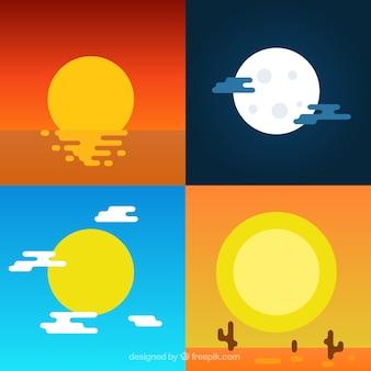 Soleil mignon et icônes de la lune