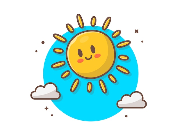 Soleil mignon lever avec nuages icône illustration