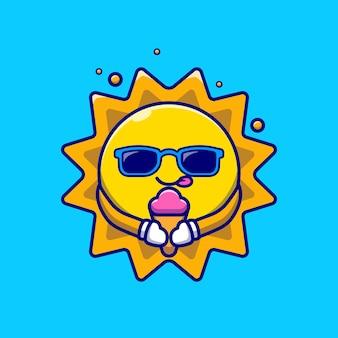 Soleil mignon portant des lunettes mangeant une illustration de dessin animé de crème glacée.